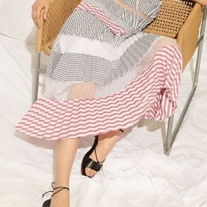 NWT Club Monaco Pleated Midi Stripe Skirt S